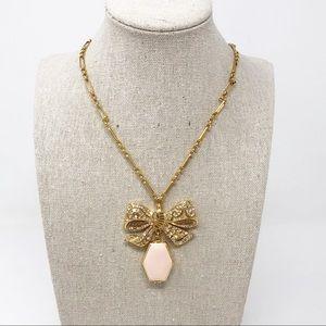 J.Crew Gold Pave Pink Enamel Bow Locket Necklace